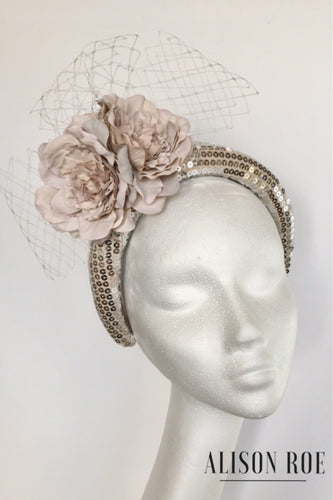 champagne sequin headband to hire