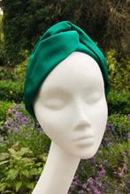 Bella Headband in green vintage silk corduroy