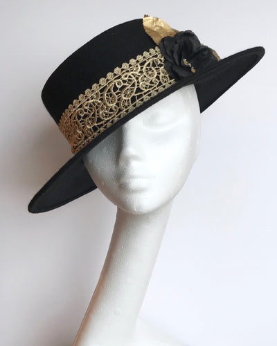 Black boater style hat for hire