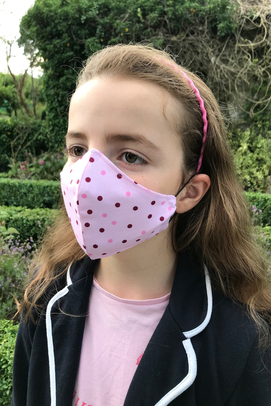 Child Fabric Face Mask - Pretty in Pink Polka Dot