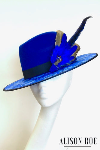 C37 - Royal Blue Fedora with Blue Feather Hat Pin for Hire
