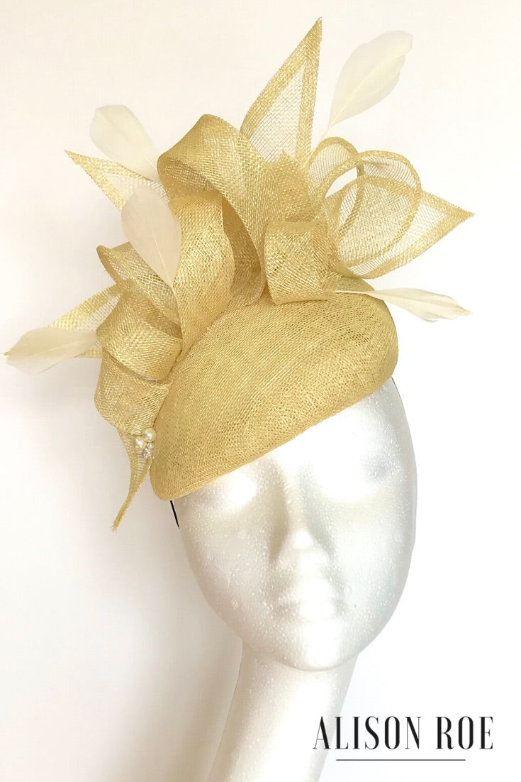 Charlotte teardrop headpiece in primrose yellow