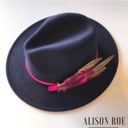 C38 - Navy Blue Fedora with Pink Feather Hat Pin for Hire