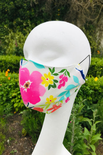 Adult Fabric Face Mask - Multi-coloured Flower