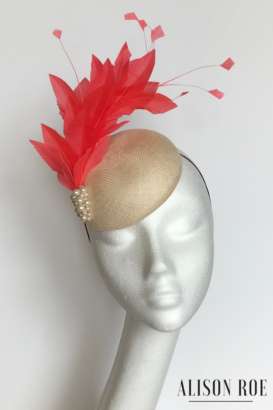 Coral feathered headpiece