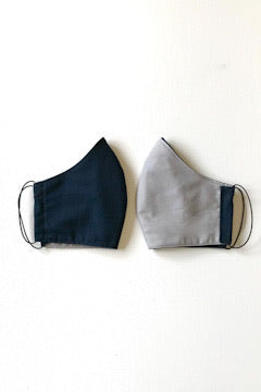 Adult Reversible 3 Layer Fabric Face Mask - Navy/Grey