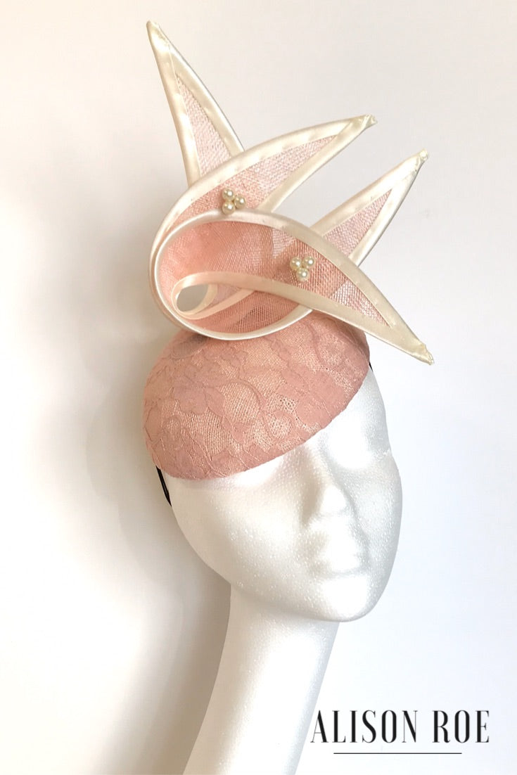 Blush pink headpiece for hire
