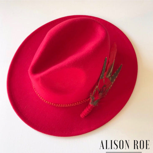 C42 - Red Fedora with Red Feather Hat Pin for Hire