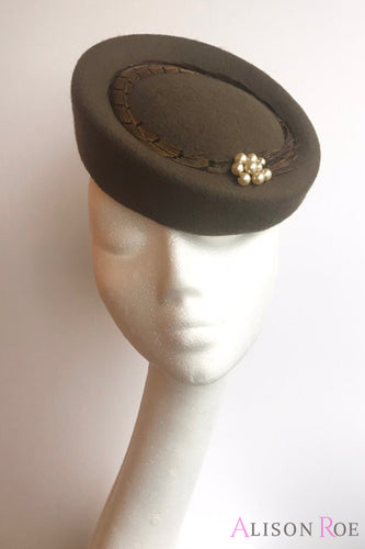 Olive green brown pillbox hat for hire