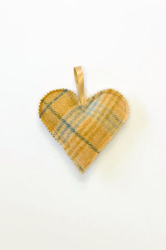 Mustard tweed heart accessory