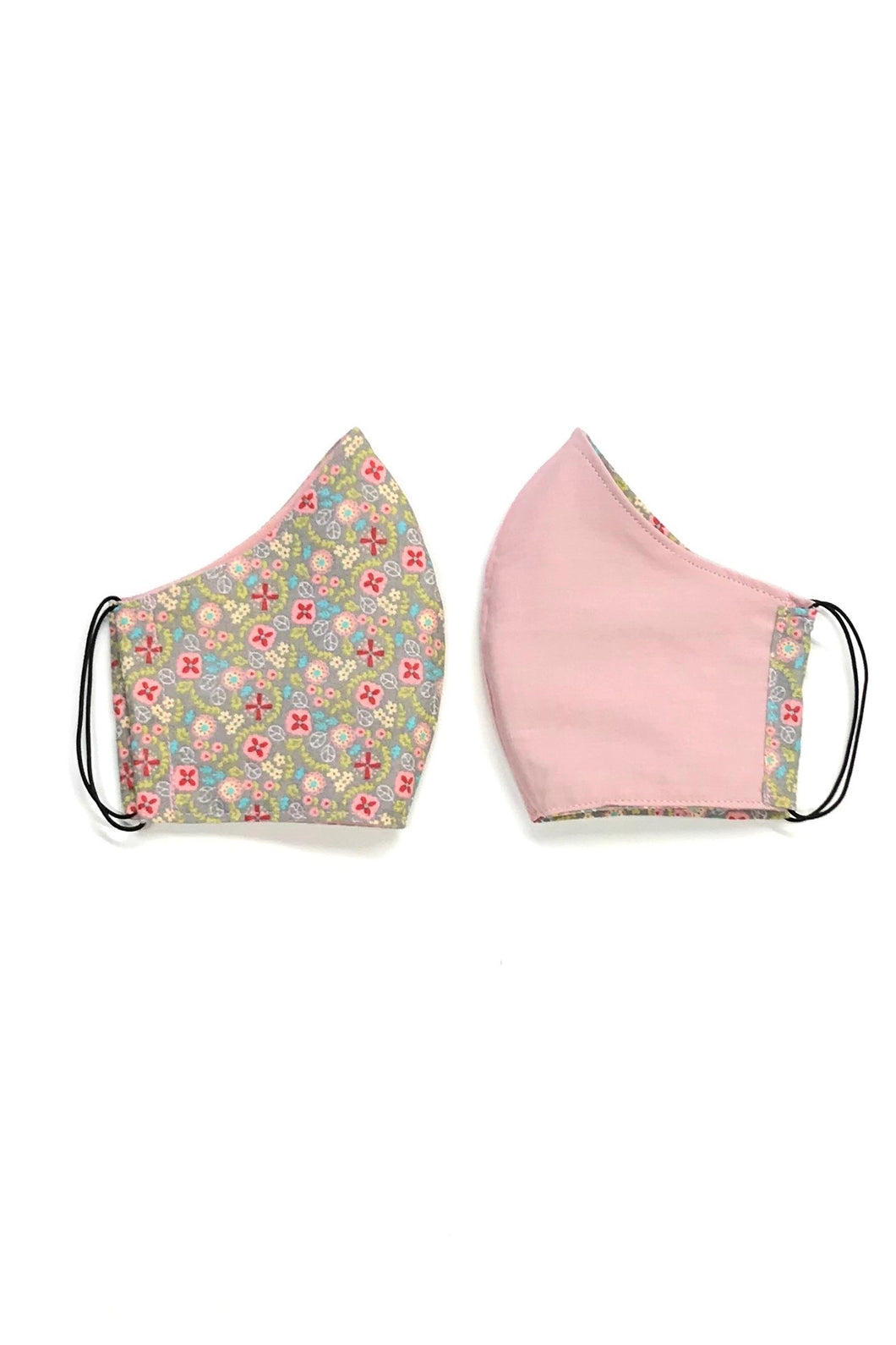 Adult Reversible 3 Layer Fabric Face Mask - Floral