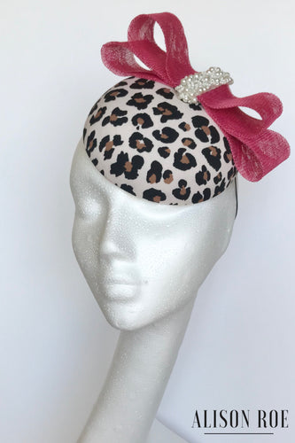 Marietta - Leopard Print Headpiece with Pink Bow & Pearl Trim