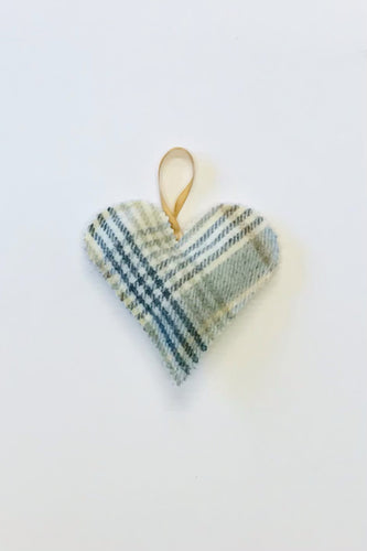 Pale blue tweed heart accessory