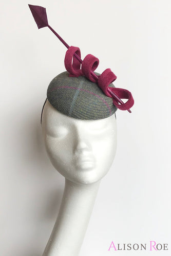 Tweed headpiece to hire, hat hire Tipperary