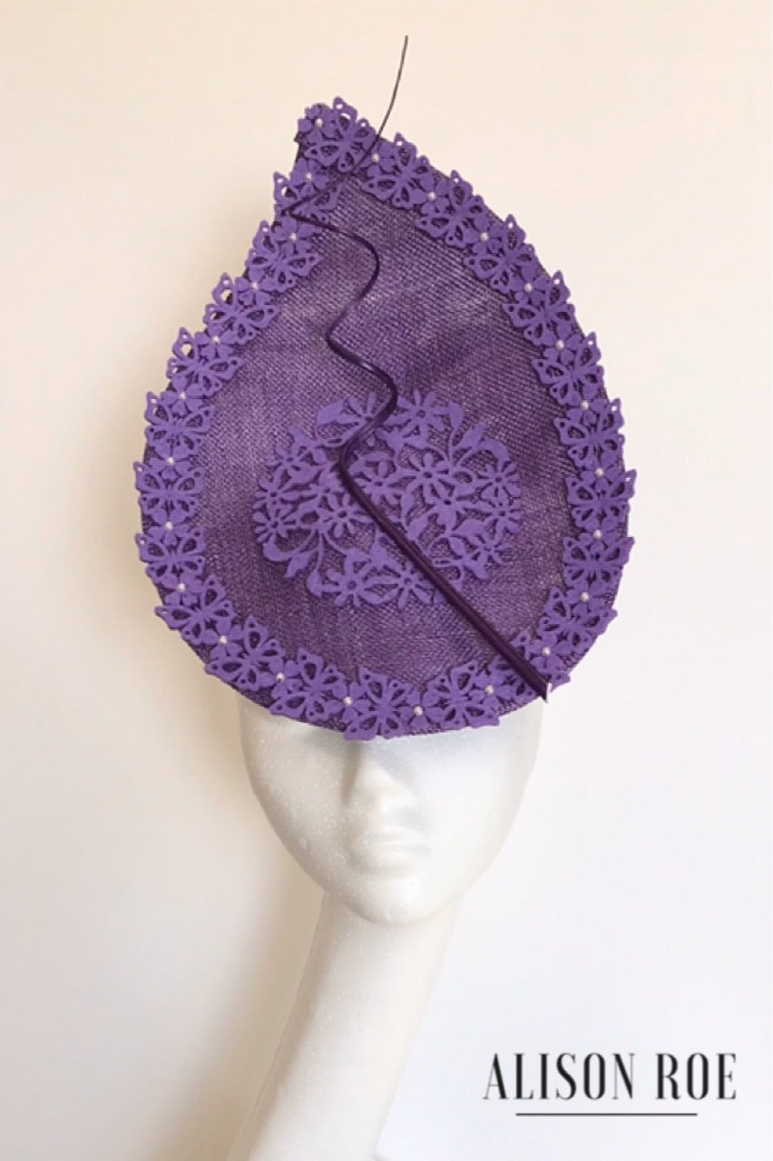 Large purple headpiece to hire Alison Roe Millinery and hat hire Tipperary