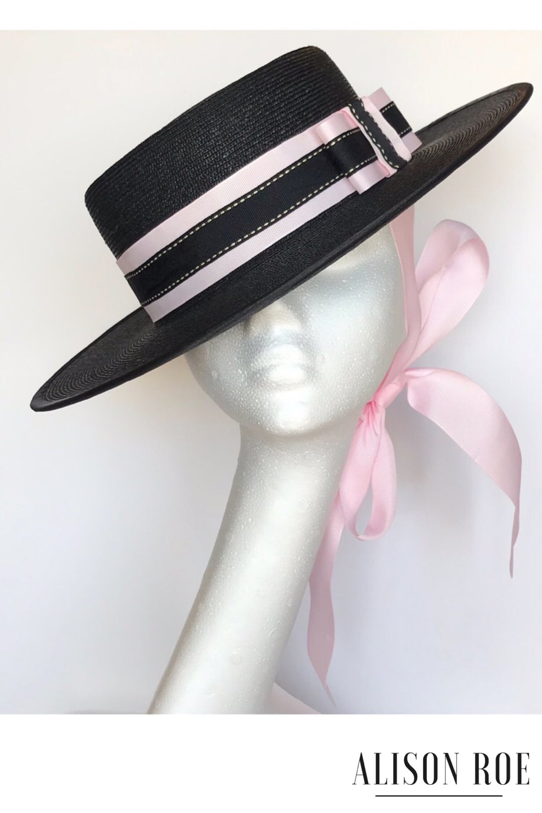 Black & pink boater style hat