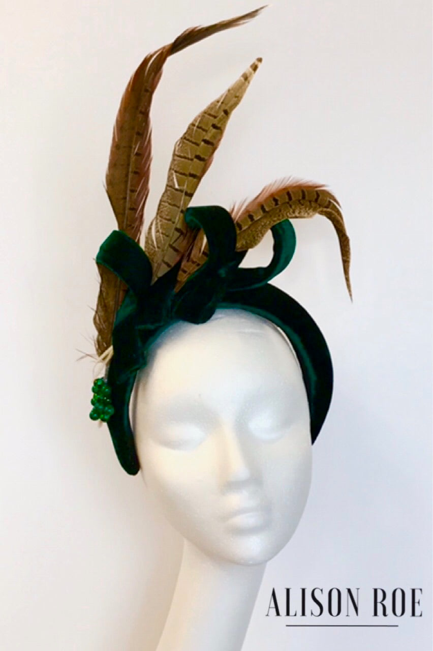 A68 - Deep Green Velvet Feather Headband for Hire