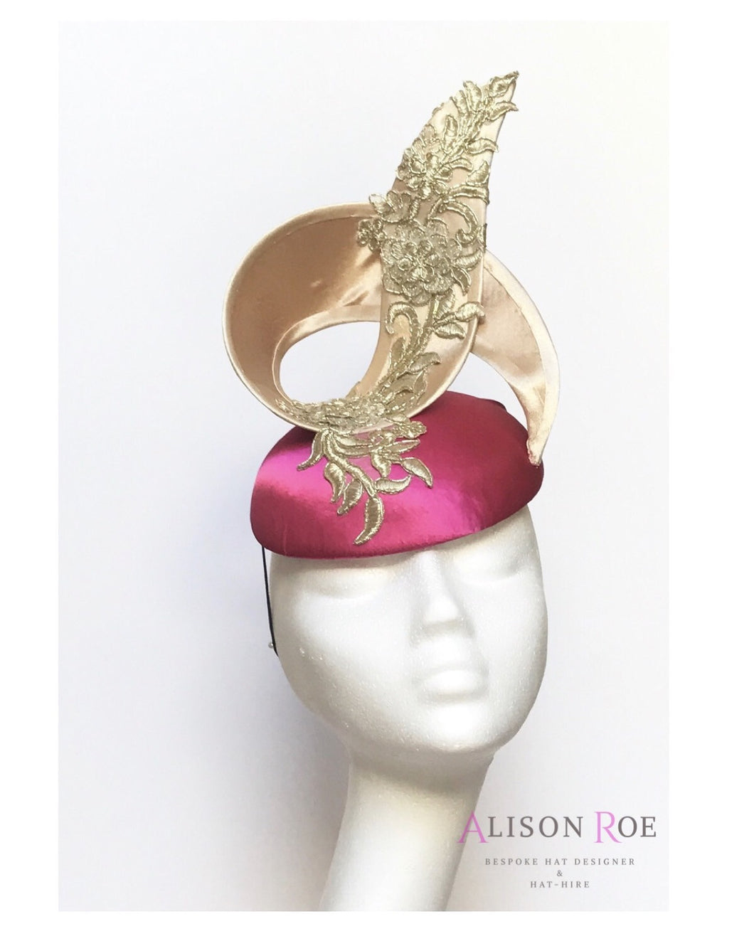 Hot pink & gold designer headpiece fascinator for hire. Alison Roe Millinery & hat hire Tipperary