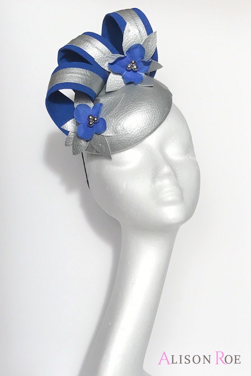 silver and blue hat to hire