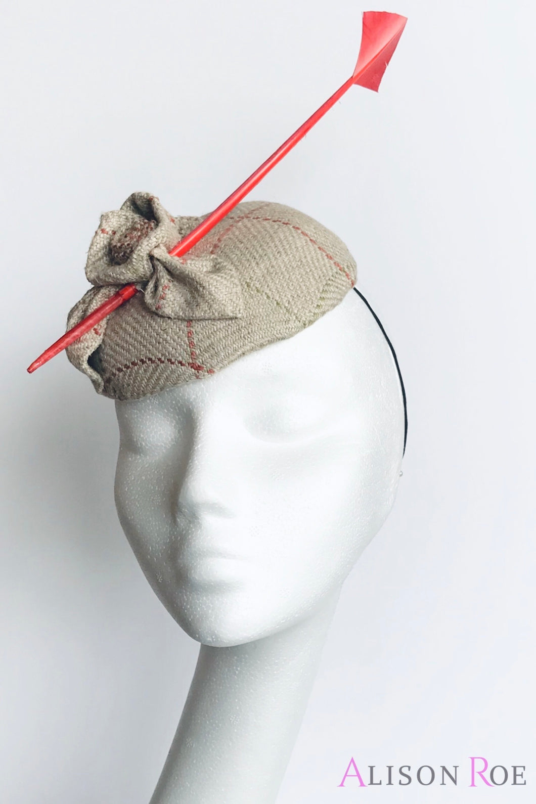 B47 - Beige Tweed Headpiece with Orange Quill for Hire