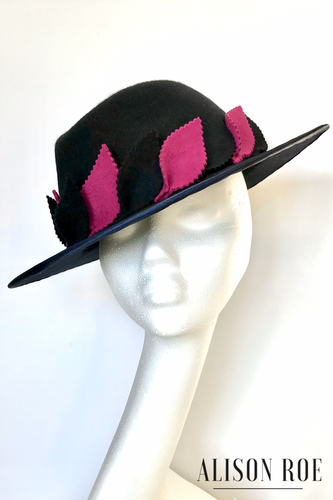 Belinda - Luxury Bespoke Fedora in Navy Felt