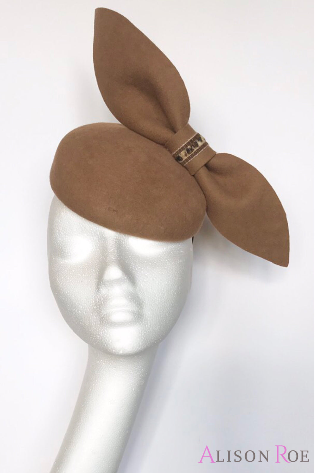 B35 - Light Brown Felt Headpiece with Felt Bow for Hire