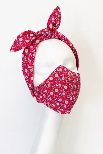 Face Mask and Hairband Set - Pink Floral
