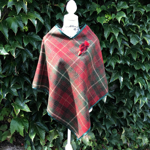Tweed Check Cape - Red