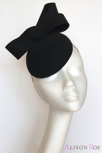 A13 - Black Felt Headpiece with Felt Bow Detail for Hire