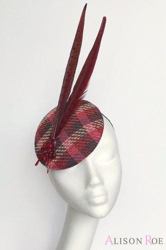 Kinsey - Wine Tweed Headpiece