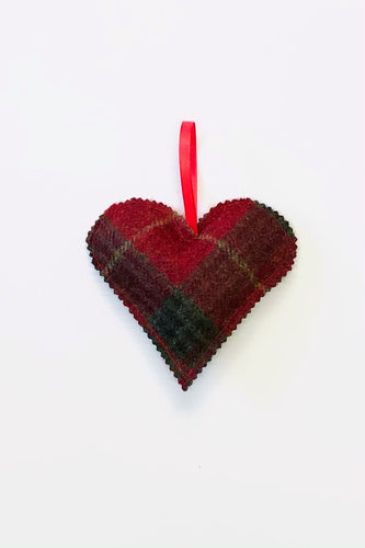 Tweed Heart - Red & Green Check