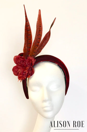 A67 - Wine Red Velvet Feather Headband for Hire