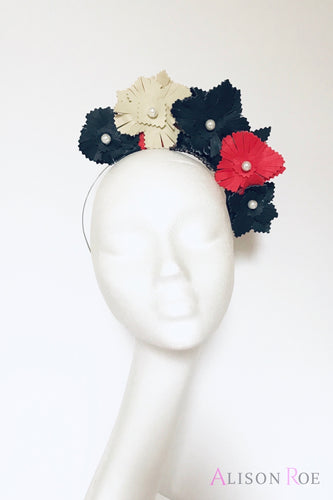 (BN5) Navy & Red Faux Leather Crown Headpiece for Hire