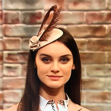 Heather - Light Beige Tweed Headpiece with Pheasant Feather