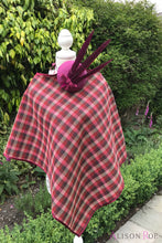 Tweed Check Cape - Wine