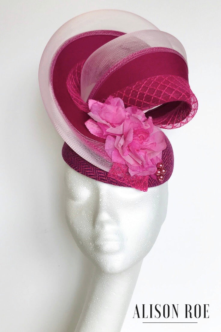 (PK28) Magenta Textured Swirl Headpiece for Hire