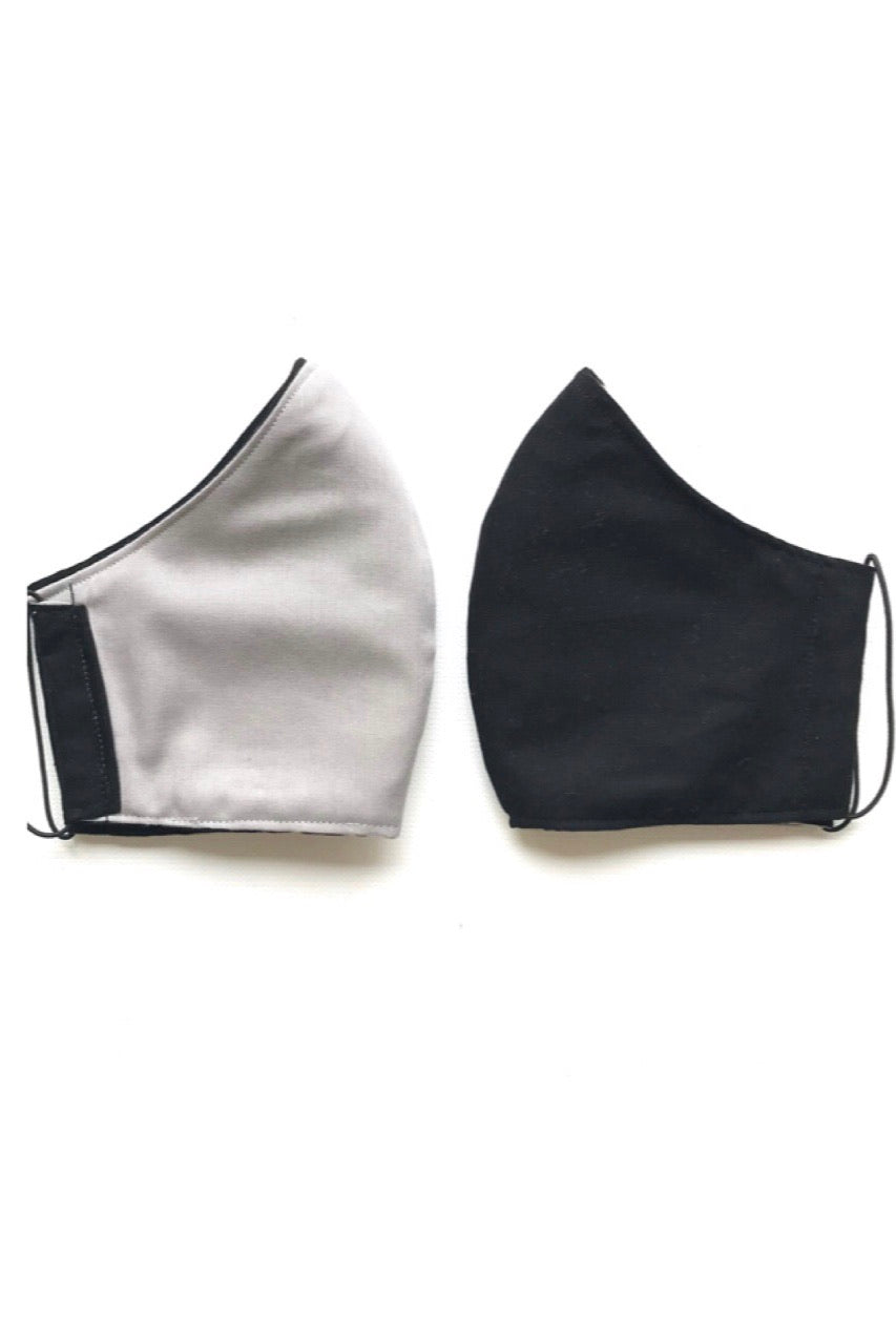 Adult Reversible 3 Layer Fabric Face Mask - Black/Grey