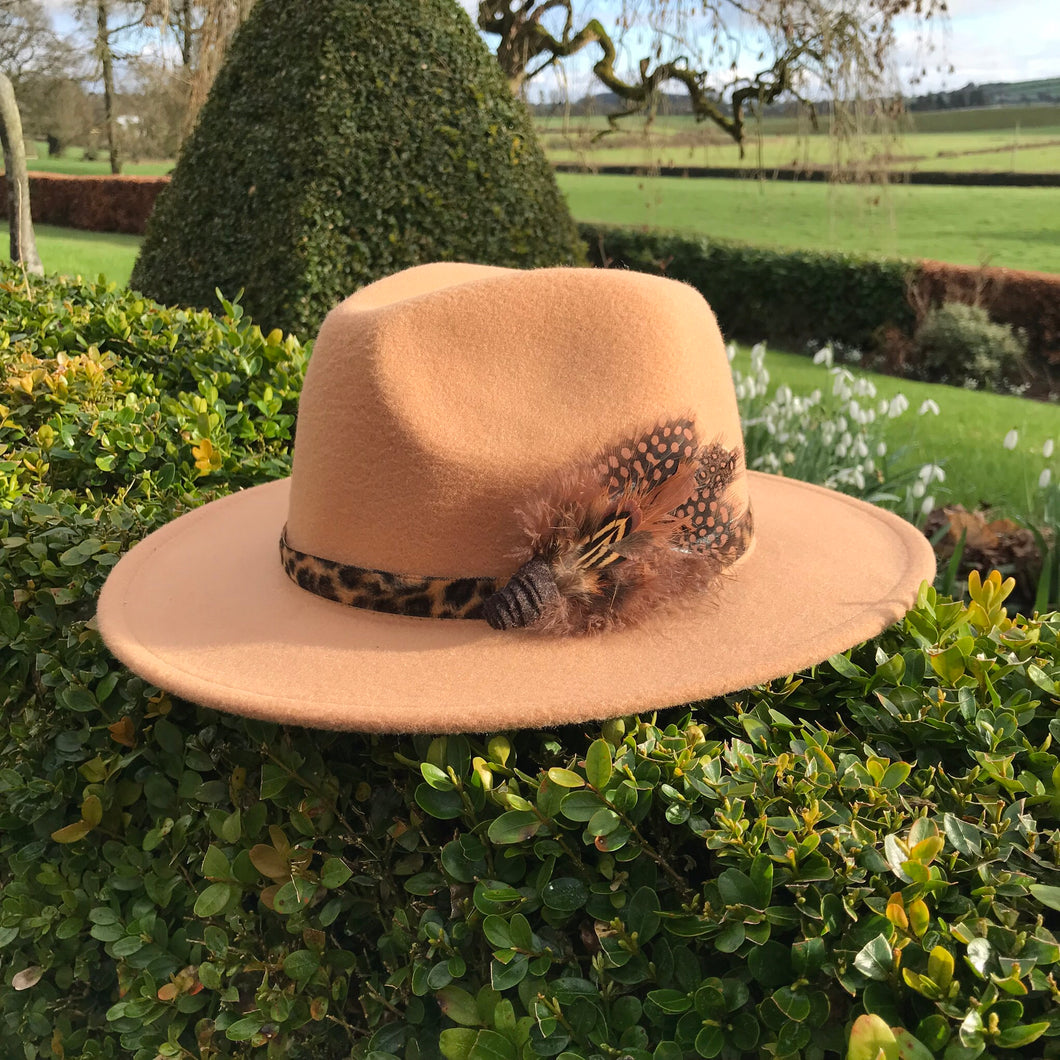 (NB13) Beige Fedora with Brown Feather Hat Pin for Hire