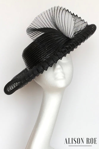 Large black ascot hat for hire
