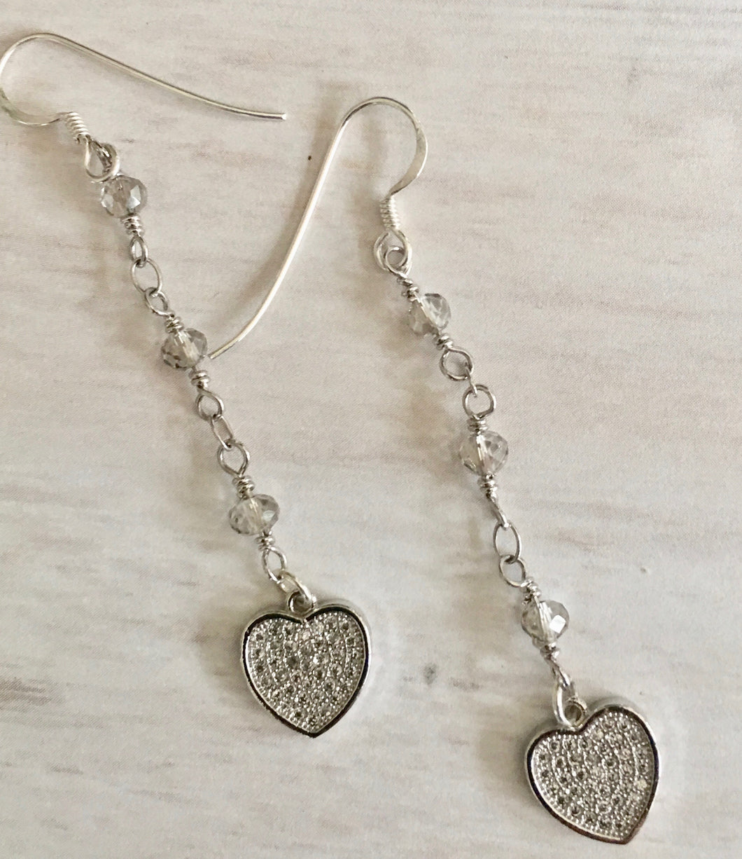 Pave Heart and Crystal Earrings