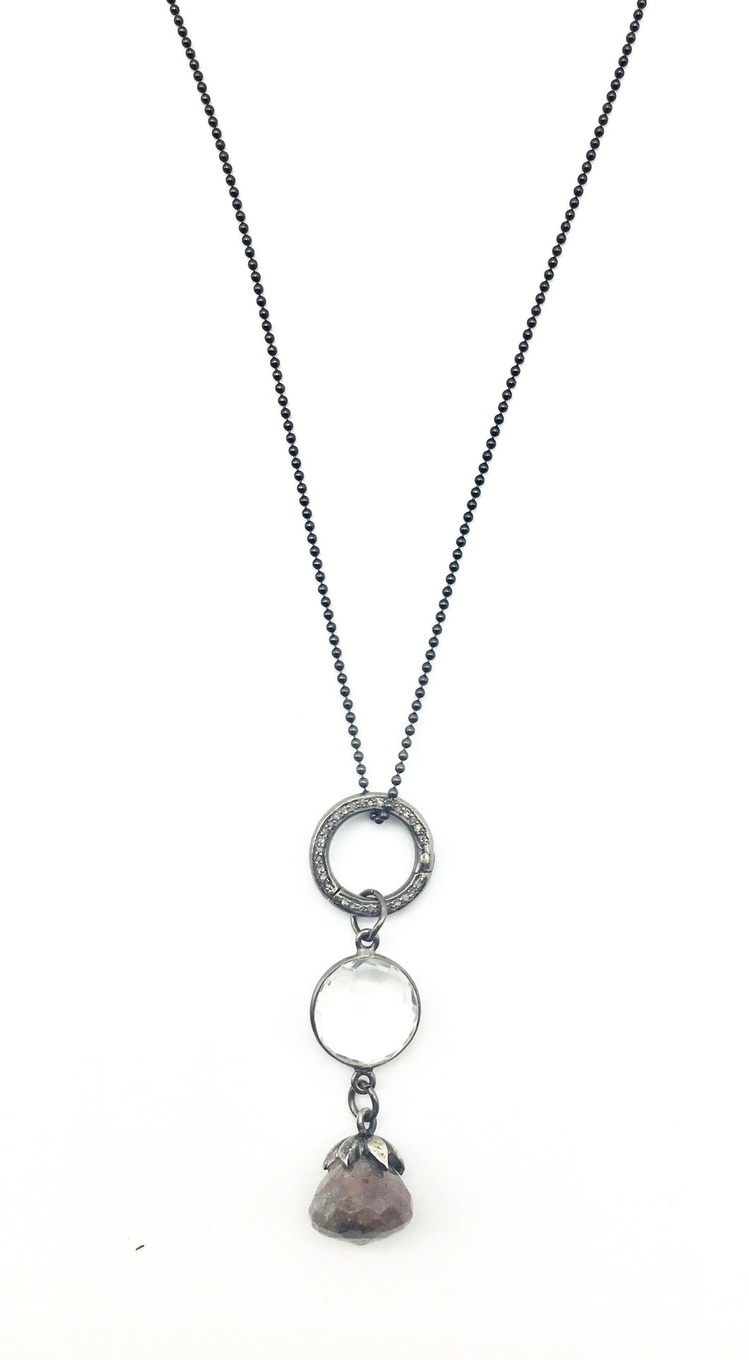 Double-sided Diamond Hoop and Rose Sapphire Necklace
