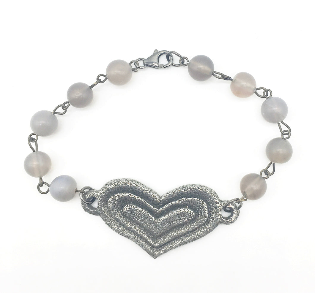 Heart and Agate Bracelet