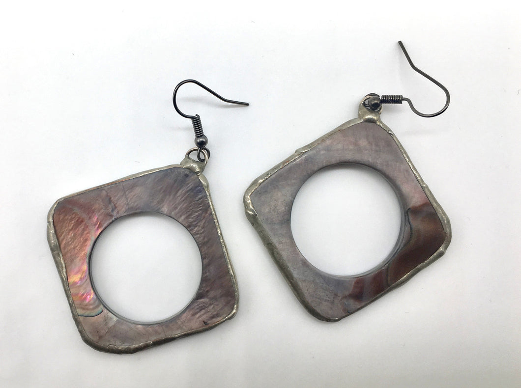 Grey Mother of Pearl Earrings