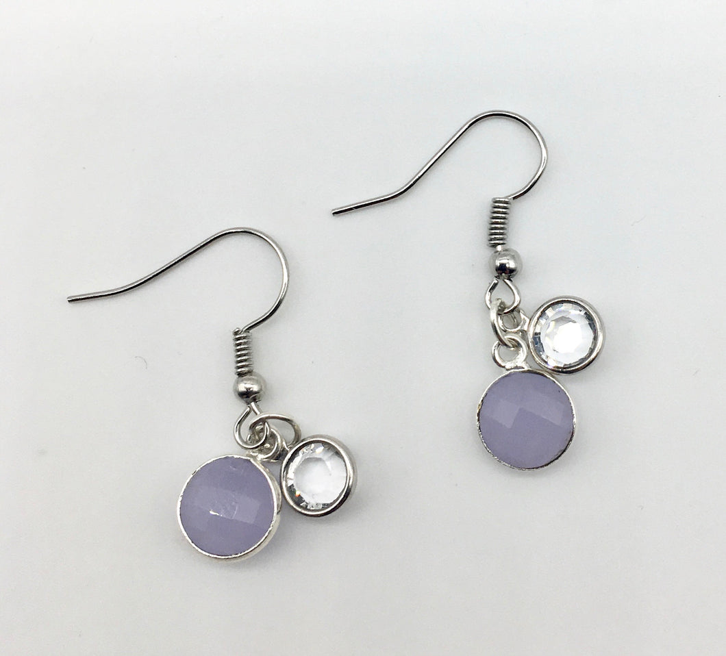 Lavender Quartz and Swarovski Crystal Earrings