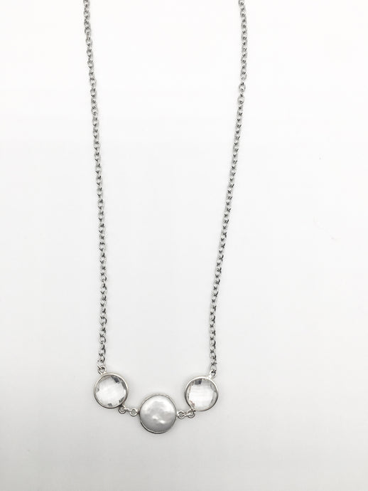 Pearl and Double Quartz Necklace