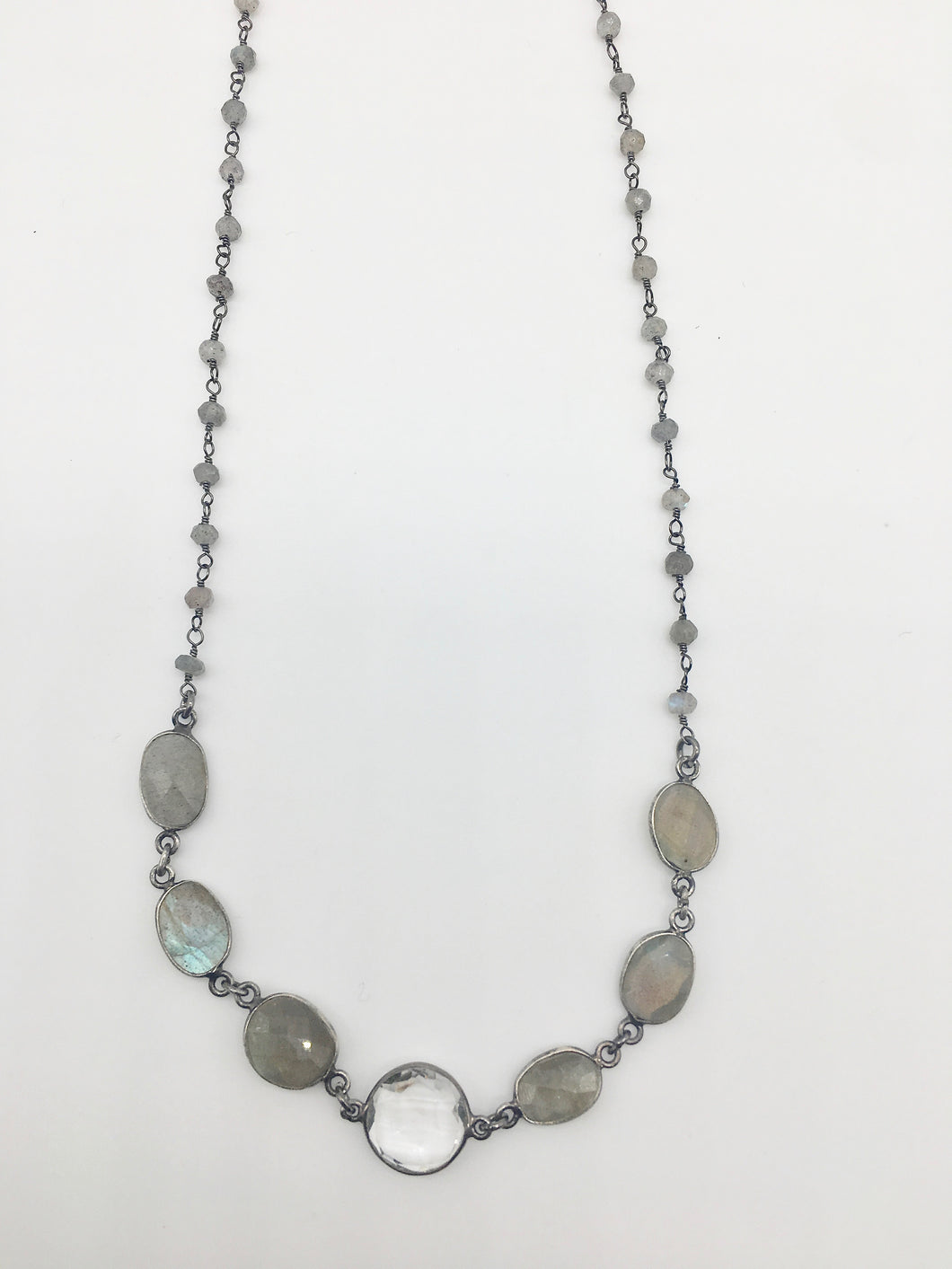 Natural Labradorite and Quartz Necklace