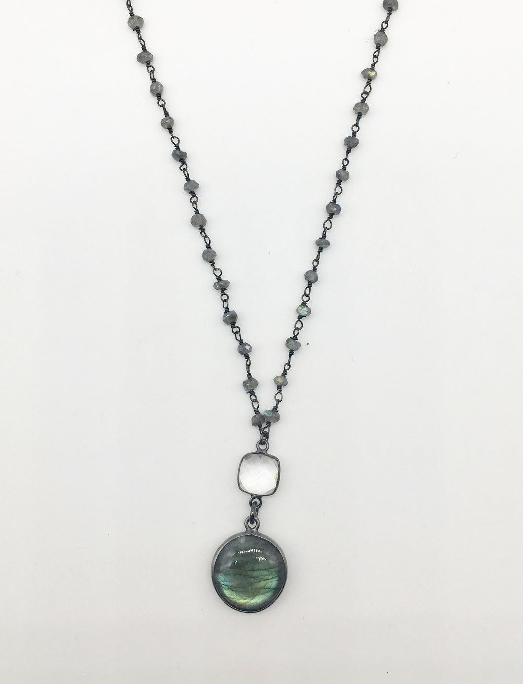 Round Labradorite and Quartz Necklace