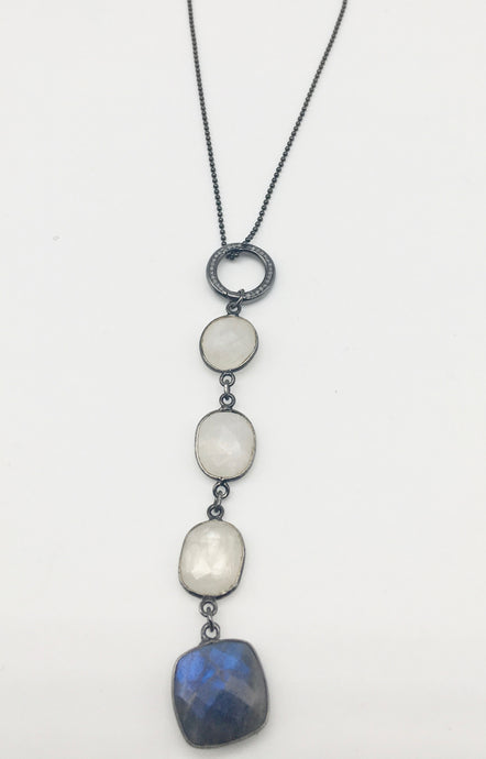 Diamond, Moonstone and Labradorite Necklace