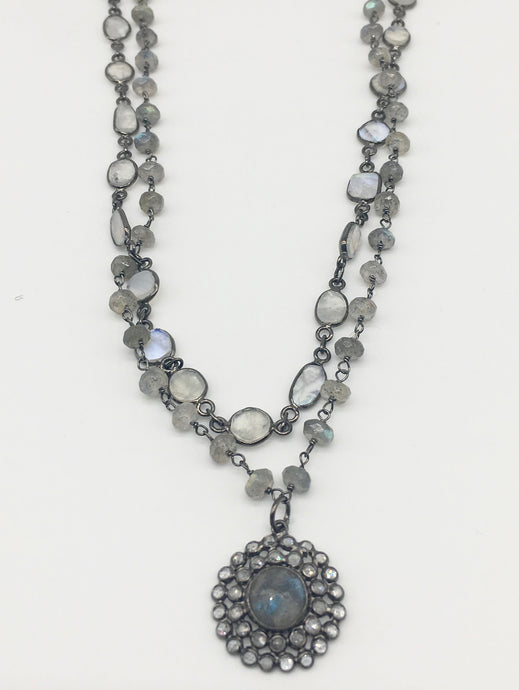 Labradorite and White Topaz Flower with Moonstone & Labradorite Necklace