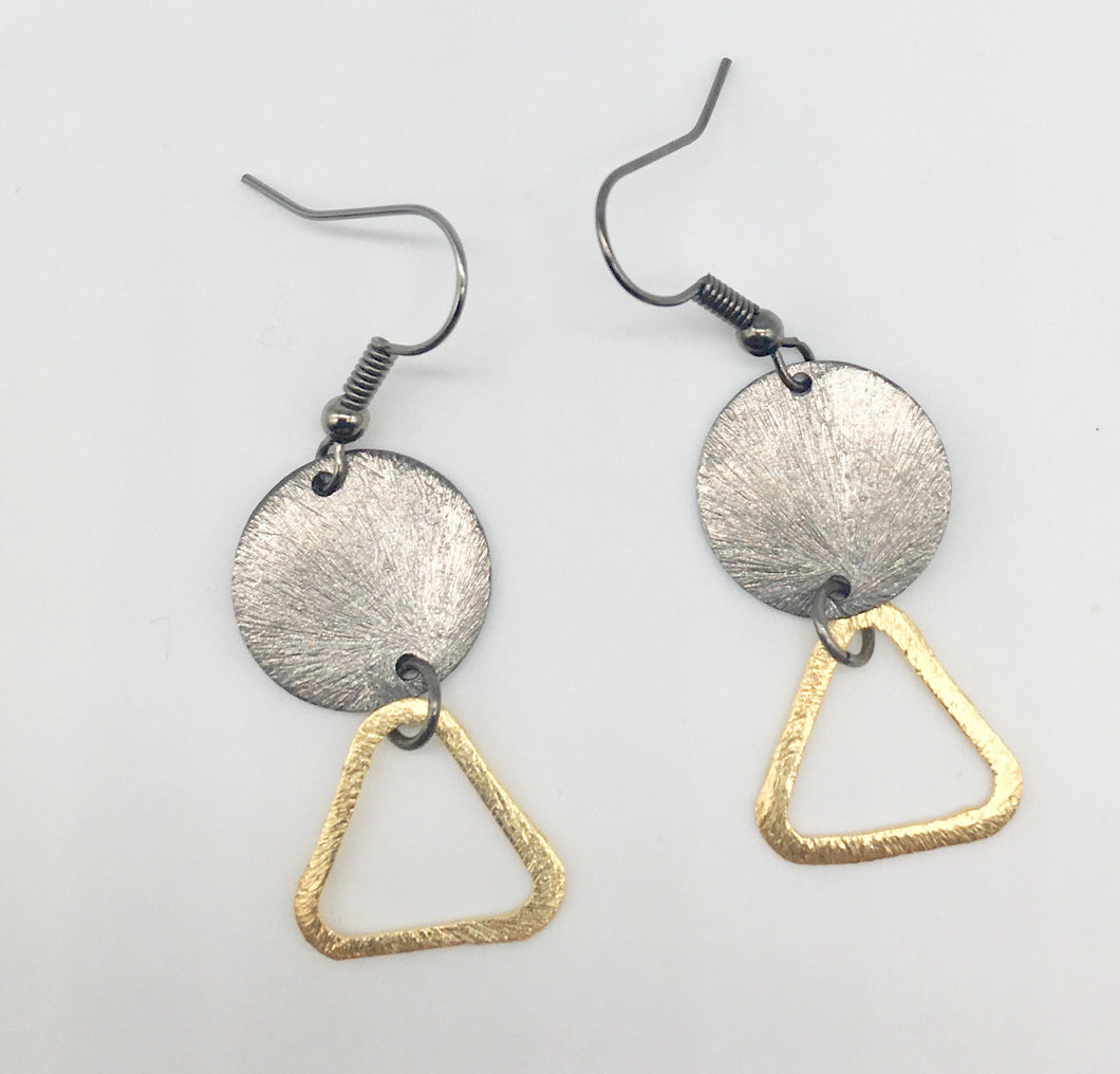 Disc and Triangle Earrings
